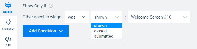 Convertful display rules - targeting by other widgets interaction