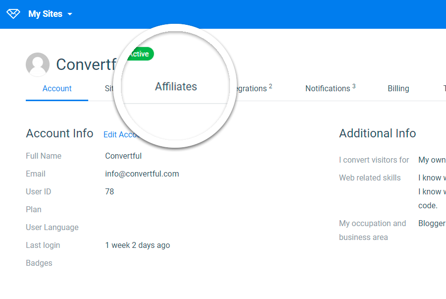 Convertful profile, affiliates section