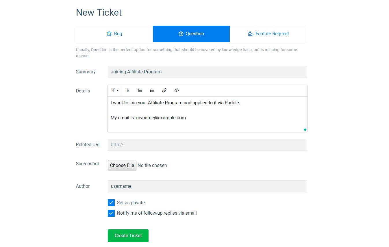 Create ticket to finish setup of affiliate settings