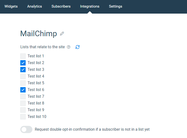 MailChimp integration relates lists