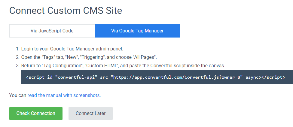Connecting Convertful via Google Tag Manager