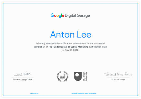 Google digital garage cerificate