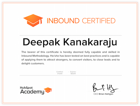 Inbound certification example