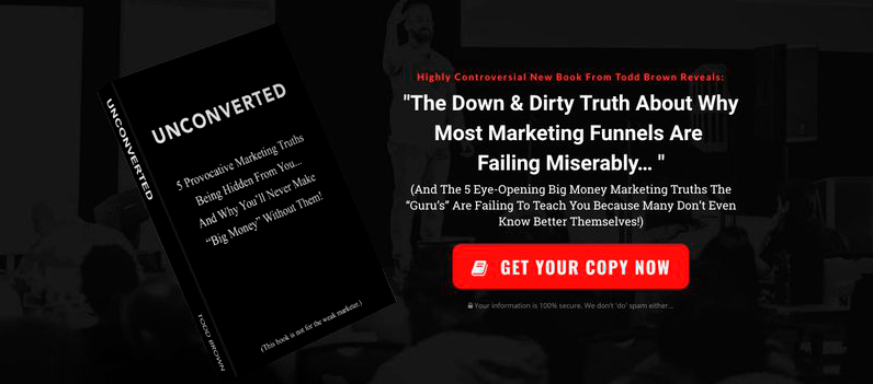 Landing page e-book unconverted example