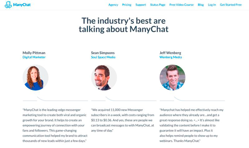 Landing page social proof many chat example