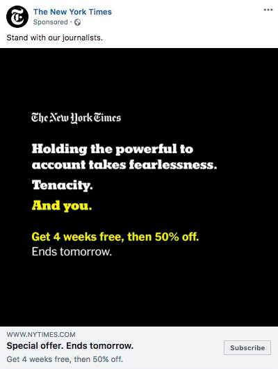 Facebook ad new york times example