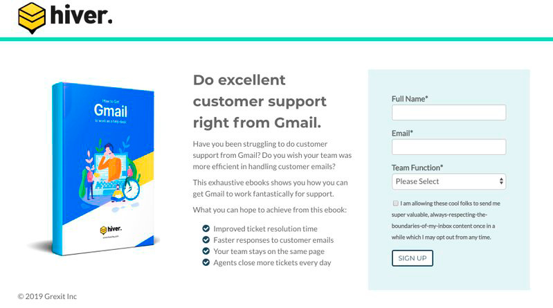Squeeze page e-book hiver example