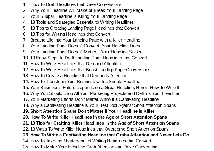 25 headlines example