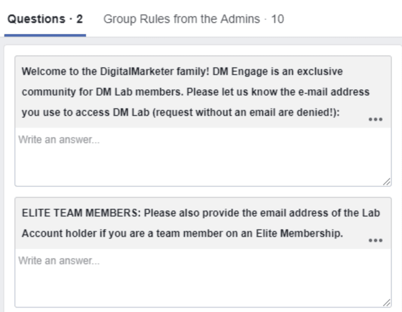 To enter a closed Facebook group, a new member must provide a valid email address for verification