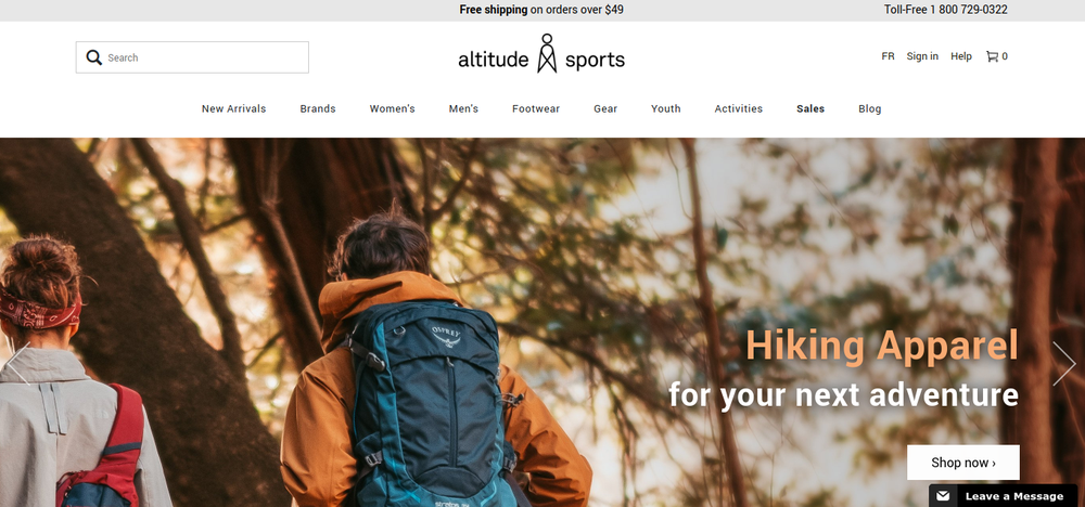 shopify store altitude sports