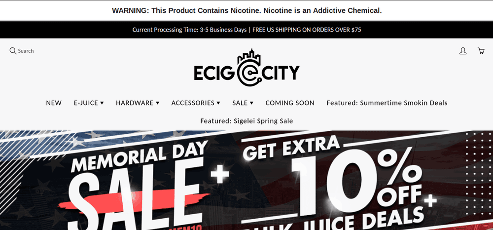 shopify store eCig-City